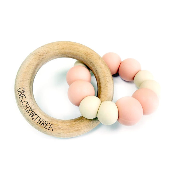 One.Chew.Three - Duo Teether - Peaches & Cream - toybox.ae