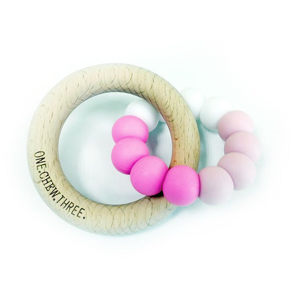 One.Chew.Three - Duo Teether - Pink Ombre - toybox.ae