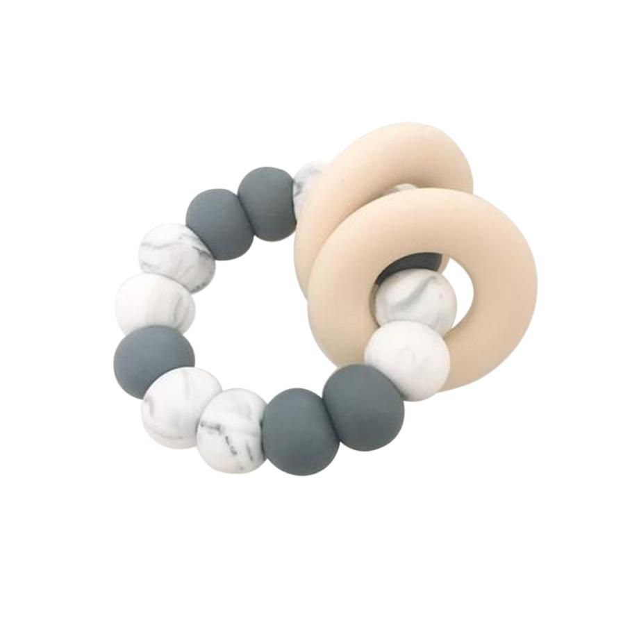 One.Chew.Three - Gummi Silicone Teether - Grey Marble - toybox.ae