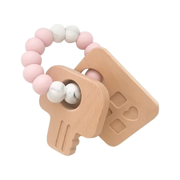 One.Chew.Three - Keys Teether - Pink - toybox.ae