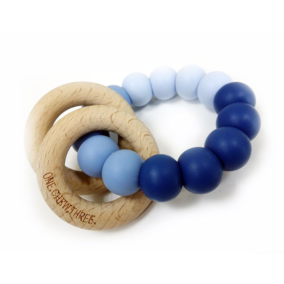 One.Chew.Three - Rattle Duo Teether - Blue Ombre - toybox.ae
