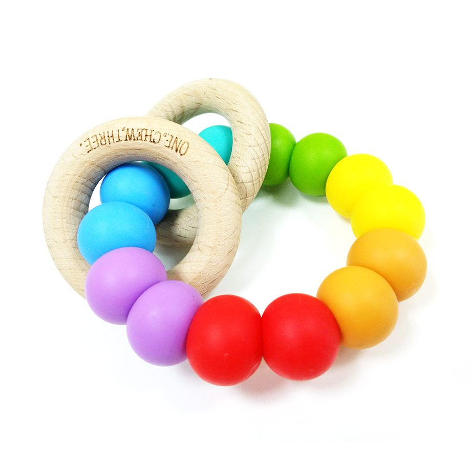 One.Chew.Three - Rattle Duo Teether - Rainbow Bright - toybox.ae
