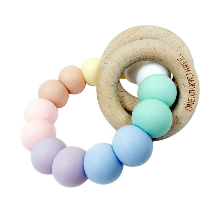 One.Chew.Three - Duo Teether - Rainbow - toybox.ae
