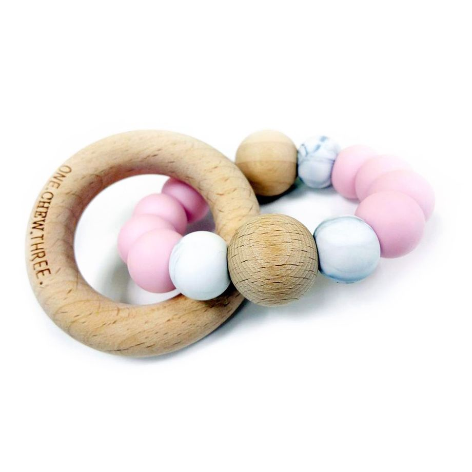 One.Chew.Three - Single Rattle & Beech Wood Teether - Pink Marble - toybox.ae