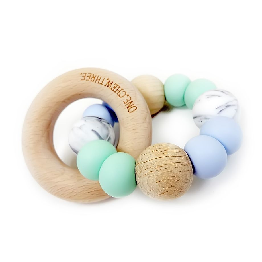 One.Chew.Three - Single Rattle & Beech Wood Teether - Mint Blue Marble - toybox.ae