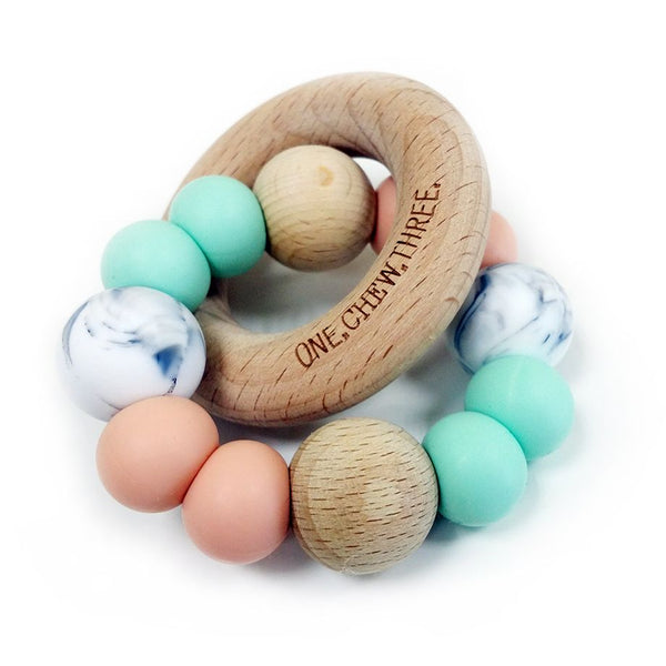 One.Chew.Three - Single Rattle & Beech Wood Teether - Mint Peach Marble - toybox.ae