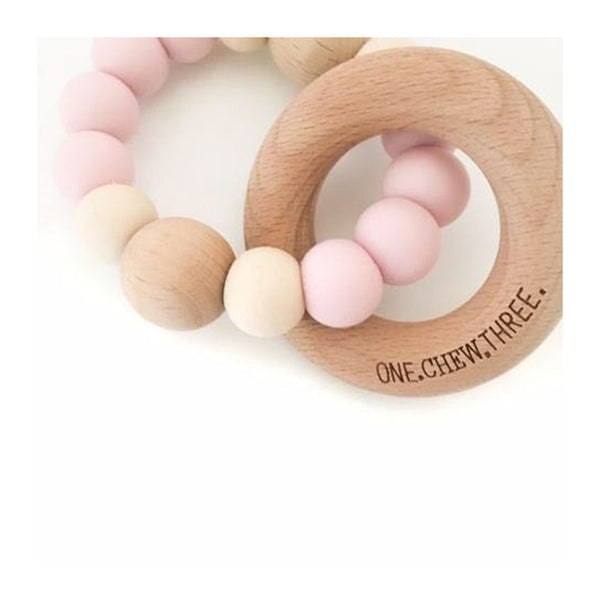 One.Chew.Three - Single Rattle & Beech Wood Teether - Pink/Cream - toybox.ae