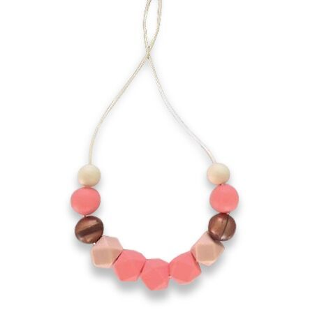 One.Chew.Three - Ruby Necklace - Coral - toybox.ae