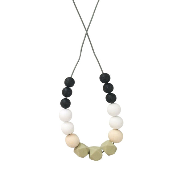 One.Chew.Three - Poppy Necklace - Olive - toybox.ae