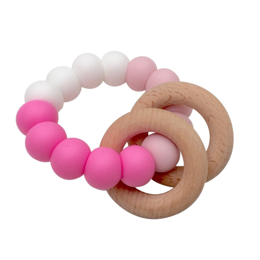 One.Chew.Three - Rattle Duo Teether - Pink - toybox.ae