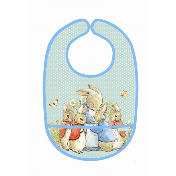 Petit Jour Paris PVC Coated Cotton Bib Peter Rabbit Green - toybox.ae