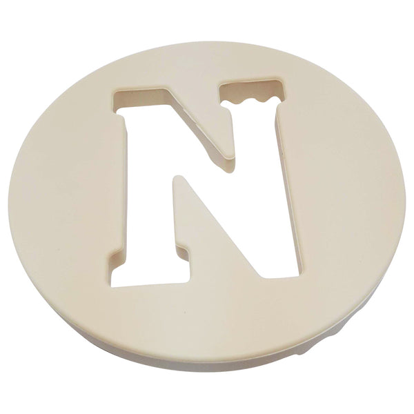 One.Chew.Three - Alphabet Chews Silicone Letter Teething Disc - N - Cream