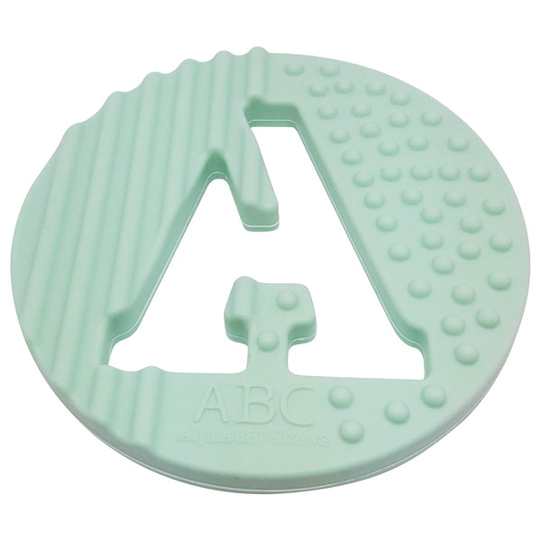One.Chew.Three - Alphabet Chews Silicone Letter Teething Disc - A - Mint