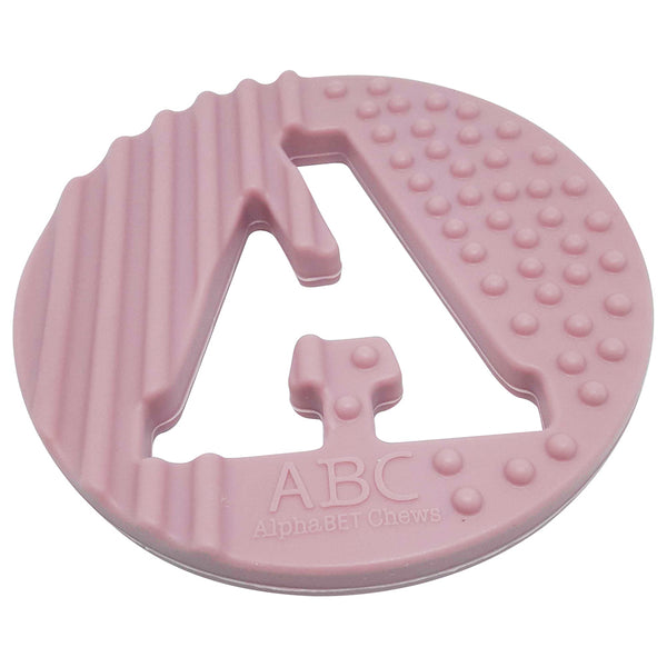 One.Chew.Three - Alphabet Chews Silicone Letter Teething Disc - A - Pink - toybox.ae