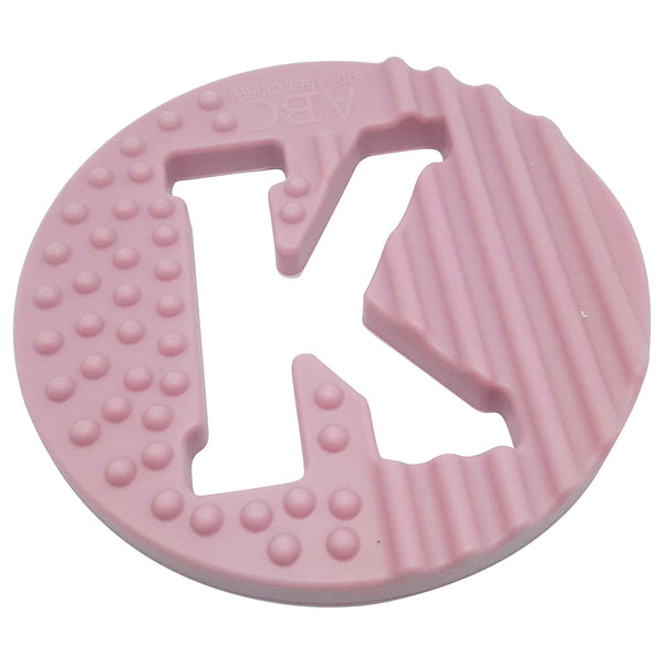 One.Chew.Three - Alphabet Chews Silicone Letter Teething Disc - K - Pink - toybox.ae