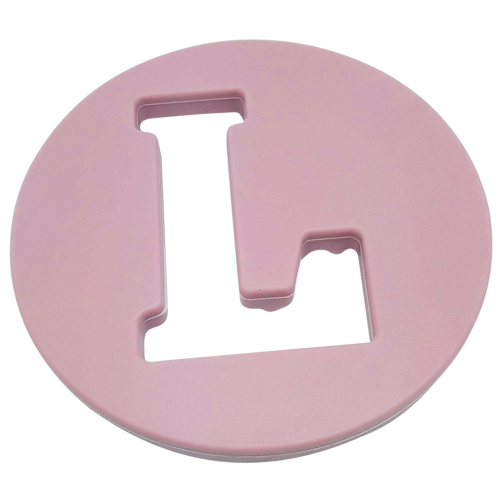One.Chew.Three - Alphabet Chews Silicone Letter Teething Disc - L - Pink - toybox.ae