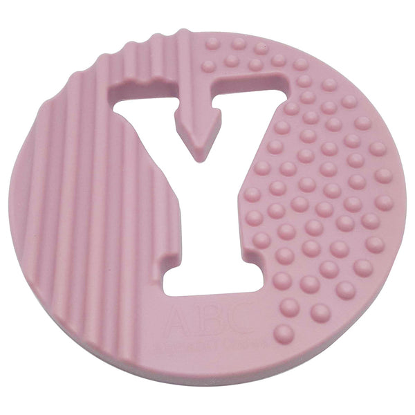 One.Chew.Three - Alphabet Chews Silicone Letter Teething Disc - Y - Pink - toybox.ae