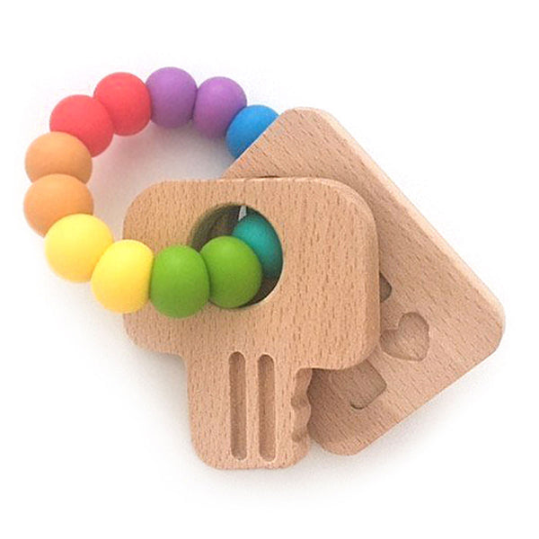 One.Chew.Three - Keys Teether - Rainbow Bright - toybox.ae