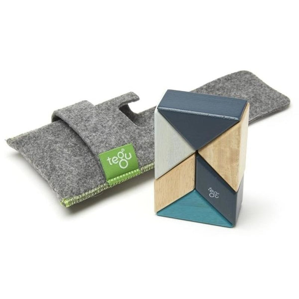 6 Piece Tegu Pocket Pouch Prism Magnetic Wooden Block Set, Blues - toybox.ae