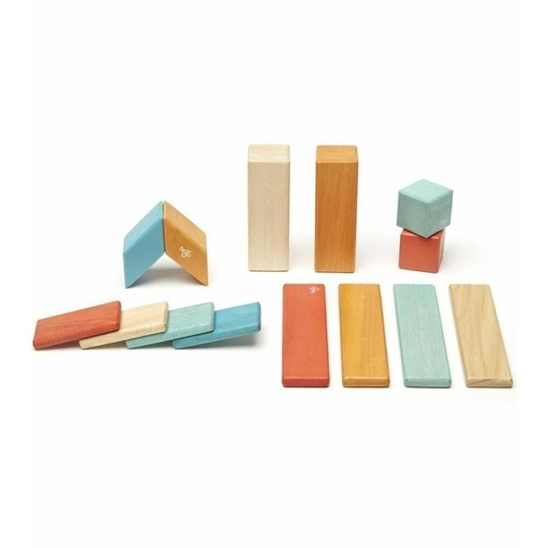 14 Piece Tegu Magnetic Wooden Block Set, Sunset - toybox.ae