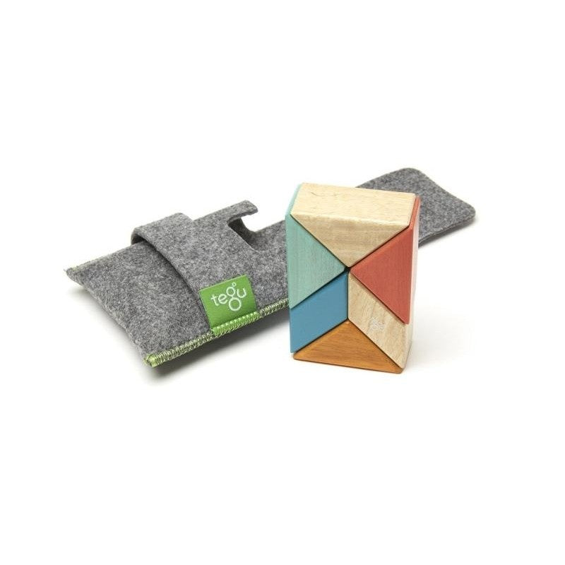 6 Piece Tegu Pocket Pouch Prism Magnetic Wooden Block Set, Sunset - toybox.ae