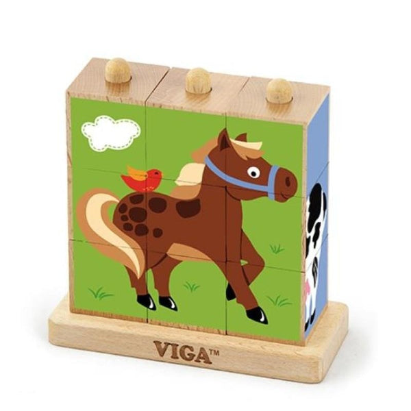9pcs Stacking Cube Puzzle - Farm Animals
