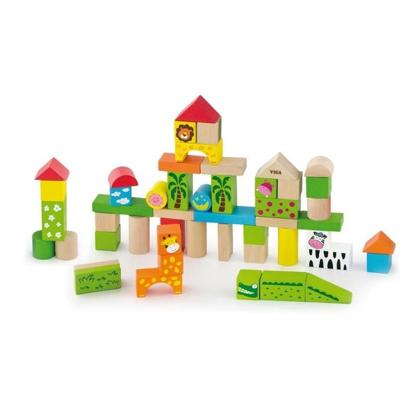 Viga 50pcs Block Set - Zoo