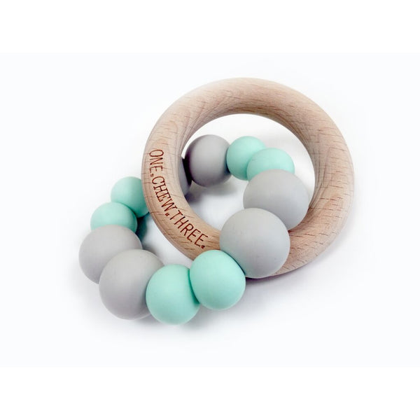 One.Chew.Three - Duo Teether - Minty Grey - toybox.ae