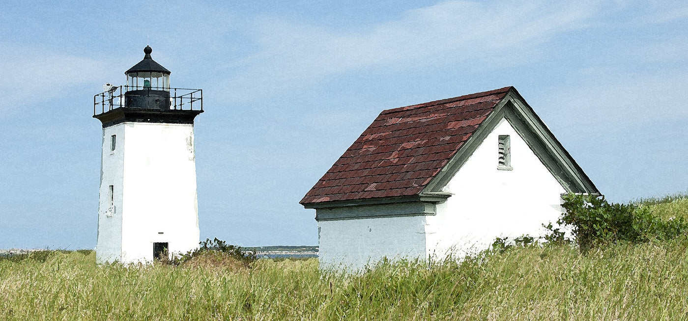Panoramic of Lighthouse in the dune grass