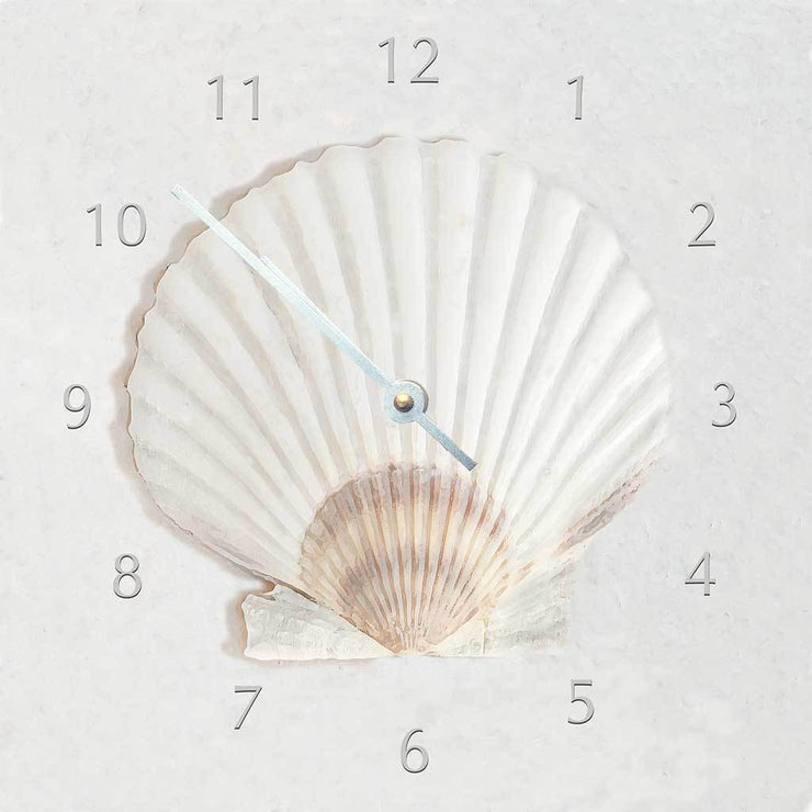 White Scallop Shell Clock