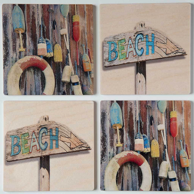 Beach Sign Coaster Set