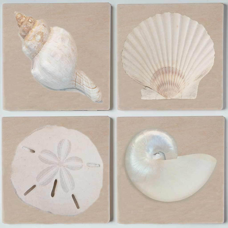 White Sea Shells Coaster Set
