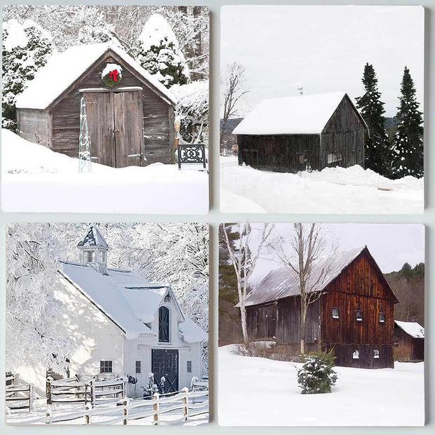 Winter Barns Coaster Set