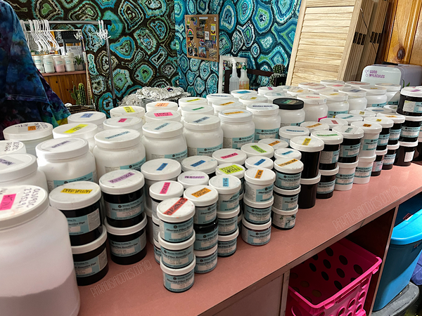 Entire collection of over 100 Dharma Fiber Reactive Procion Dyes in 5lb, 1lb, 8oz and 2oz containers