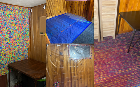 Collage featuring photos of Paradisiac Dyes tie dye studio with tarp on the floor, plastic multi-use sheeting covering walls and multi-colored area rugs on top to protect from spills and stains