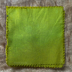 A True-to-Color Swatch, Taken Under Natural Sunlight on a 100% Color Sample Square of Dharma Trading Co. Procion Fiber Reactive Dye in Color Chartreuse