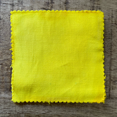 A True-to-Color Swatch, Taken Under Natural Sunlight on a 100% Color Sample Square of Dharma Trading Co. Procion Fiber Reactive Dye in Color Lemon Yellow