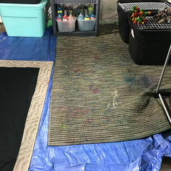 Photo of my previous in-home tie dye studio in 2018.