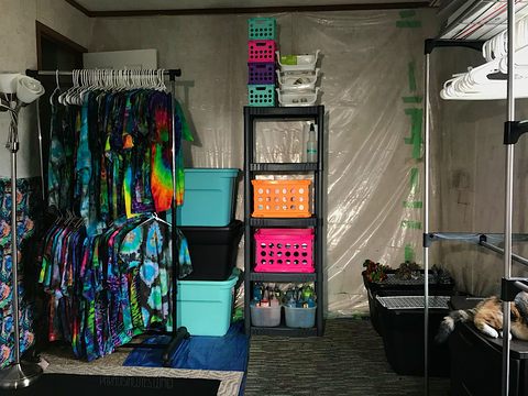 Pictured is my previous tie dye studio in a rental house in 2018.