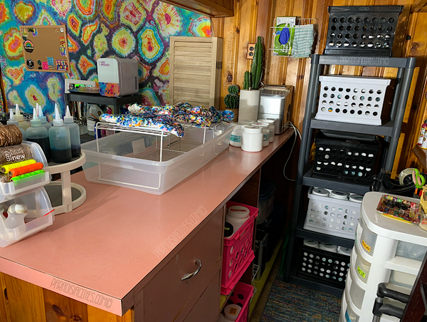 Paradisiac Psychedelic Handmade Good's in house art studio and workspace, featuring a full tie dye bar