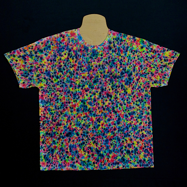 Size XL Tie Dye Shirt Featuring Vibrant Rainbow Colors with Hint of Intense Black Speckled Throughout