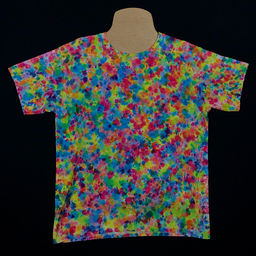 Youth Large Rainbow Pebbles Splatter Pattern Tie Dye T-Shirt