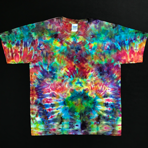 Youth XL Psychedelic Abstract Rainbow Ice Dye T-Shirt