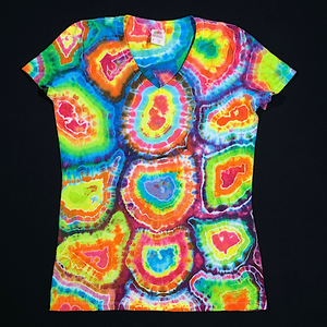 Women's Medium Rainbow Geode Tie Dye V-Neck