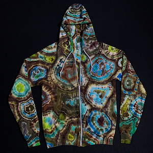 Size Small Agate Geode Tie Dye Zip-Up Hoodie