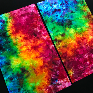 Set of (2) Custom Made Rainbow Splatter Ice Dye Pillowcases