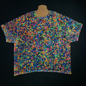 Size 5X Tie Dye Short Sleeve Shirt Featuring an Array of Countless Rainbow Colors in a Speckled, Splatter or Crinkle Tie Dye Pattern