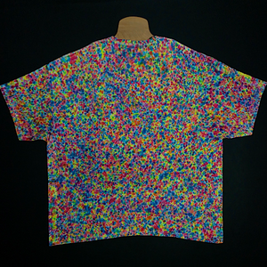 Size 4XL tie dye shirt featuring a full spectrum of rainbow colors in every shade imaginable in our supreme splatter tie dye pattern. Also sometimes referred to as a crinkle, crumple or scrunch tie dye fold.