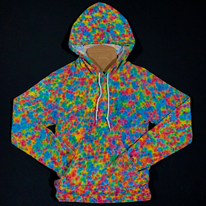 Size XS Rainbow Pebbles Splatter Pattern Pullover Hoodie