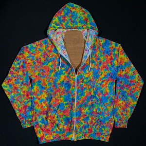 Size XL Rainbow Splatter Pattern Zip-Up Hoodie